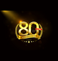 80 years anniversary with laurel wreath golden vector