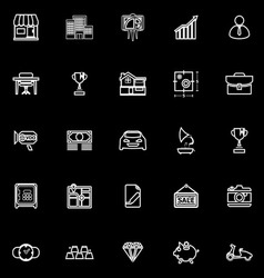 Asset and property line icons on black background vector image