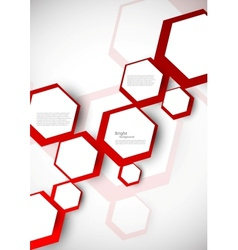Background with red hexagons vector image
