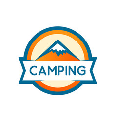 badge round shape of mountains camping or vector image