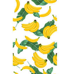 banana seamless pattern with banana leaves bunch vector image