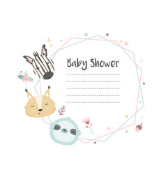 Bashower invitation with cute animals vector