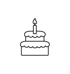 Birthday cake backery line black icon vector