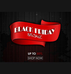 black friday big sale red tag ribbon banner vector image