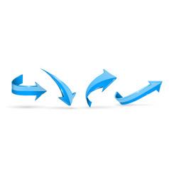 blue arrows 3d web icons vector image