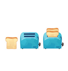 Blue toaster and bread in cartoon style isolated vector
