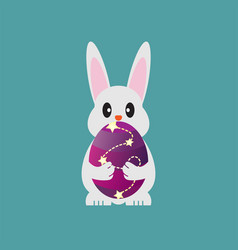 bunny holding easter egg vector image