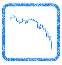 candlestick chart down framed stamp vector image