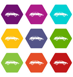 car icon set color hexahedron vector image