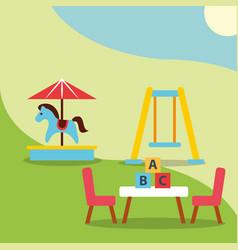 Carousel swing and table blocks alphabet toys vector