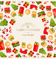 celebrating merry christmas poster vector image