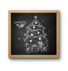 chalked sketch christmas tree vector image
