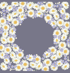 chamomile and forget me-not-flowers pattern on vector image