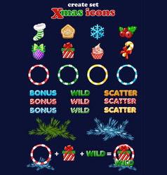christmas icons for slots create set new vector image