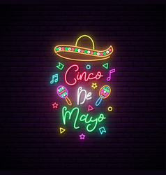 cinco de mayo neon signboard mexico greeting vector image