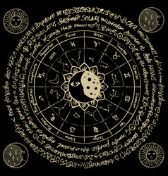 circle zodiac signs with moon and constellations vector image