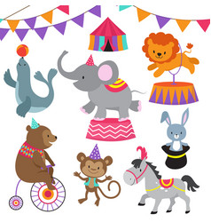 Circus child show cartoon animals set vector