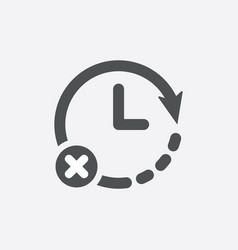 Clock icon with cancel sign vector