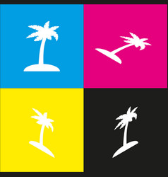 Coconut palm tree sign white icon with vector