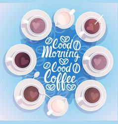 Coffee cup break breakfast drink beverage top view vector