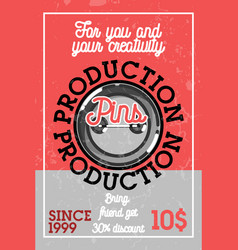 Color vintage pins production banner vector