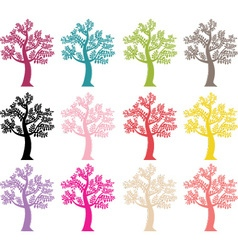 Colorful Tree Silhouette vector image