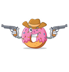 cowboy donut character cartoon style vector image