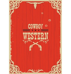 Cowboy western red background with guns vector