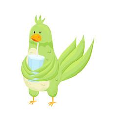 Cute adorable green parrot drink fresh soda vector
