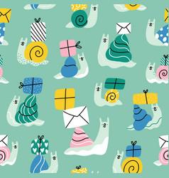 cute cartoon snail mail pattern vector image