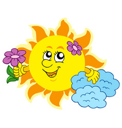 Cute sun with flower vector
