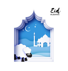 Eid-al-adha greeting card design with paper cut vector