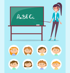 english teacher near chalkboard with abc letters vector image