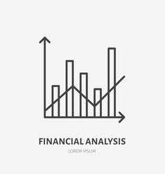 Financial analysis flat logo column chart and vector