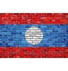 Flag of Laos on a brick wall vector