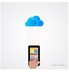 Flat cloud technology computing background vector