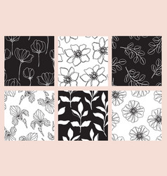 floral seamless patterns set with flowers vector image
