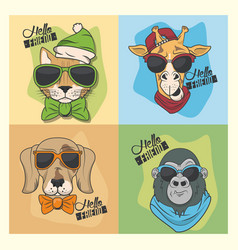 Funny animals with sunglasses cool style vector