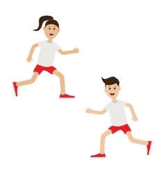 Funny cartoon running girl and boy Cute run woman vector image