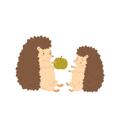 funny hedgehog parent give green fresh apple to vector image