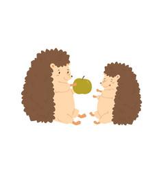 funny hedgehog parent give green fresh apple vector image