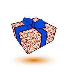 gift box present with blue bow and ribbon EPS10 vector image
