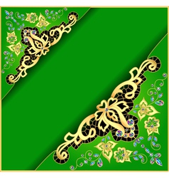 green background with gold ornament vector image