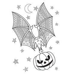 halloween doodle coloring book page bat vector image