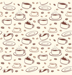 hand drawn coffee cups seamless pattern vector image