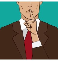 Hand sign silence vector