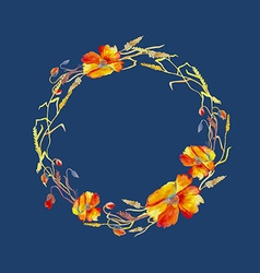 Handpainted watercolor of wreath with poppie vector image