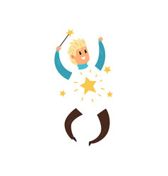Happy magician with invisible body young man vector