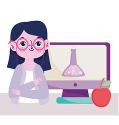 happy teachers day teacher computer chemistry vector image
