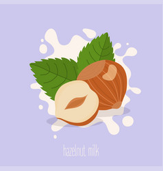 hazelnut milk hazelnuts on a milk splash vector image